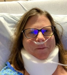 Jamie in hospital after neck surgery - Staying through the challenges of 2020